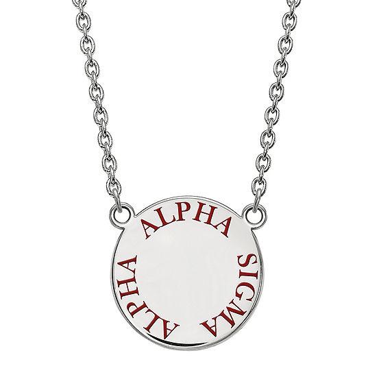 Alpha Sigma Alpha Enamel Sterling Silver Disc Pendant Necklace
