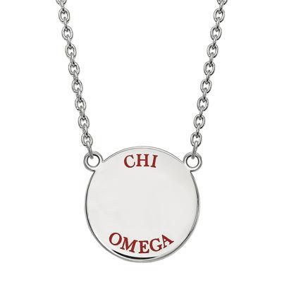 Chi Omega Enamel Sterling Silver Disc Pendant Necklace
