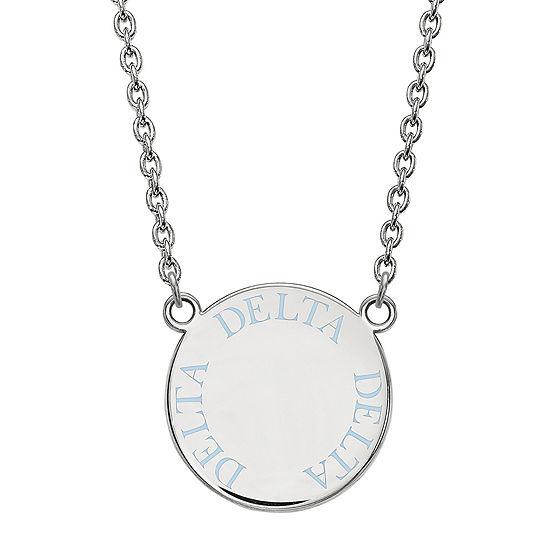 Delta Delta Delta Enamel Sterling Silver Disc Pendant Necklace