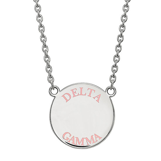 Delta Gamma Enamel Sterling Silver Disc Pendant Necklace