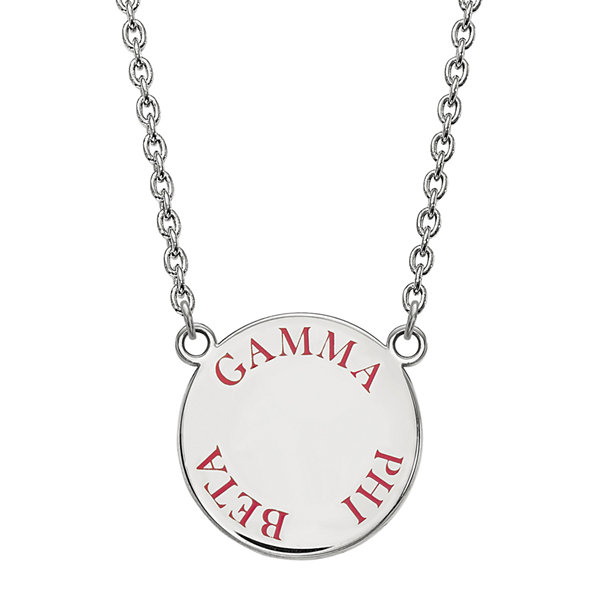 Gamma Phi Beta Enamel Sterling Silver Disc Pendant Necklace