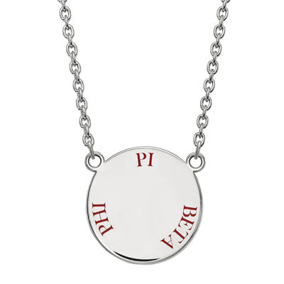 Pi Delta Phi Enamel Sterling Silver Disc Pendant Necklace