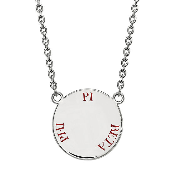 Pi Delta Phi Enamel Sterling Silver Disc Pendant Necklace