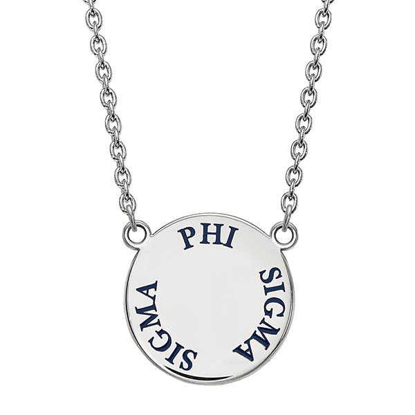Phi sigma sigma enamel sterling silver disc pendant necklace phi sigma sigma enamel sterling silver disc pendant necklace mozeypictures Choice Image