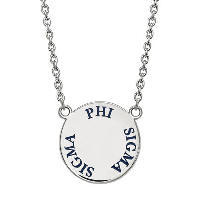 Phi Sigma Sigma Enamel Sterling Silver Disc Pendant Necklace