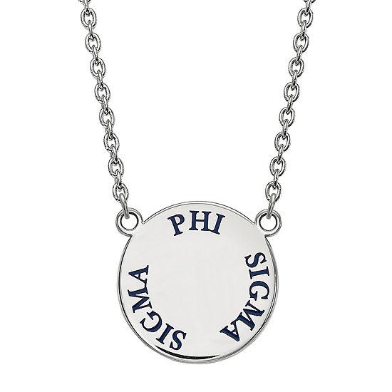 Phi Sigma Sigma Enamel Sterling Silver Disc Pendant Necklace