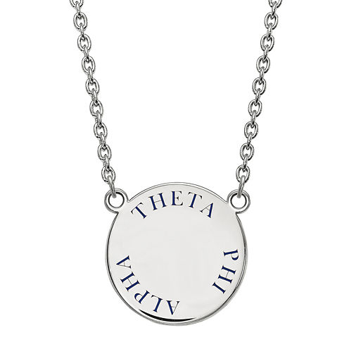Theta Phi Alpha Enamel Sterling Silver Disc Pendant Necklace