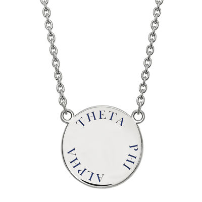Theta Phi Alpha Enamel Sterling Silver Disc Pendant Necklace