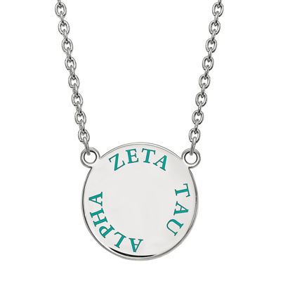 Zeta Tau Alpha Enamel Sterling Silver Disc Pendant Necklace