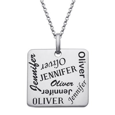 Personalized Scattered Names Pendant Necklace