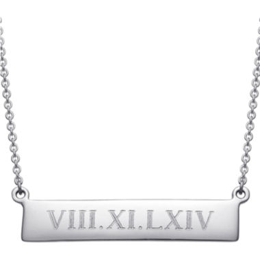 Personalized Roman Numeral Date Bar Necklace