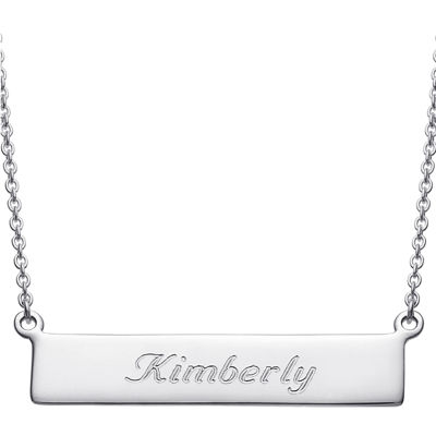 Personalized Sterling Silver Cursive Name Bar Necklace
