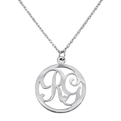 Personalized Two Initial Sterling Silver Circle Pendant Necklace