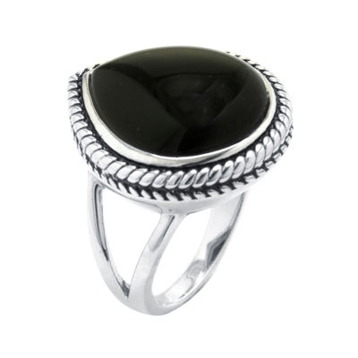 Genuine Black Onyx Sterling Silver Teardrop Ring