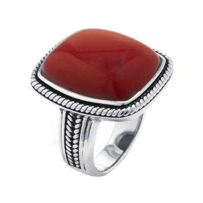 Simulated Red Jasper Sterling Silver Rectangular Ring