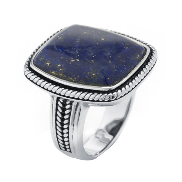 Dyed Blue Lapis Sterling Silver Rectangular Ring