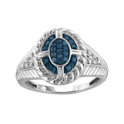 1/4 CT. T.W. White & Color-Enhanced Blue Diamond Sterling Silver Ring