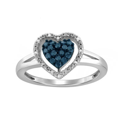 1/4 CT. T.W. White & Color-Enhanced Blue Diamond Sterling Silver Heart Ring