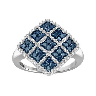 1/2 CT. T.W. White & Color-Enhanced Blue Diamond Sterling Silver Ring