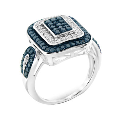 1 CT. T.W. White & Color-Enhanced Blue Diamond Sterling Silver Ring
