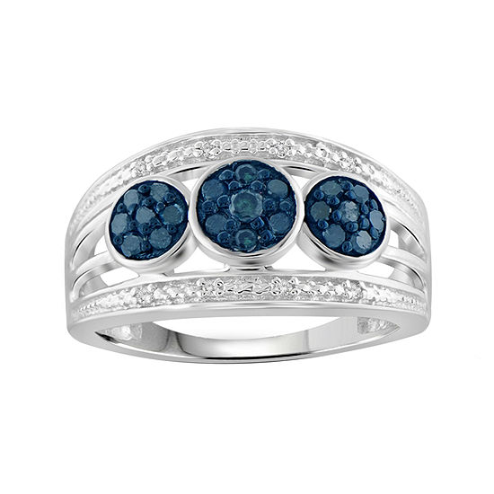 1/3 CT. T.W. White & Color-Enhanced Blue Diamond Sterling Silver Ring