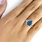 1/2 CT. T.W. White and Color-Enhanced Blue Diamond Sterling Silver Ring
