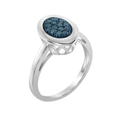 1/5 CT. T.W. Color-Enhanced Blue Diamond Sterling Silver Ring