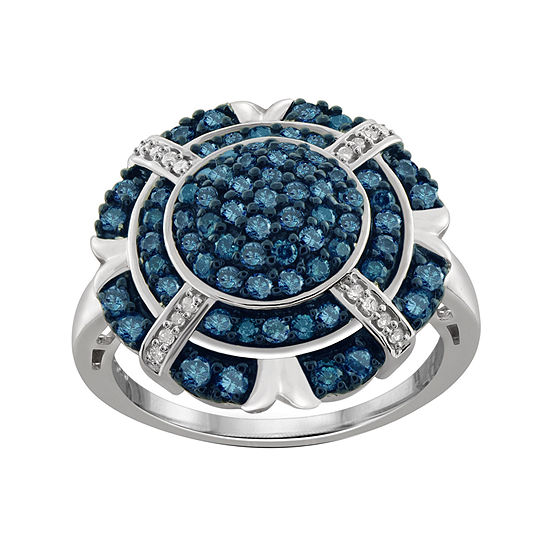 1 CT. T.W. White and Color-Enhanced Blue Diamond Sterling Silver Ring
