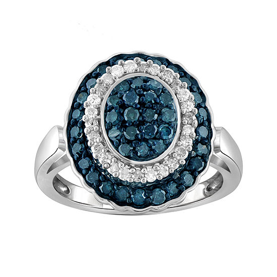 1 CT. T.W. White & Color-Enhanced Blue Sterling Silver Diamond Ring