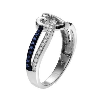 1/2 CT. T.W. White and Color-Enhanced Blue Diamond Sterling Silver Heart Ring