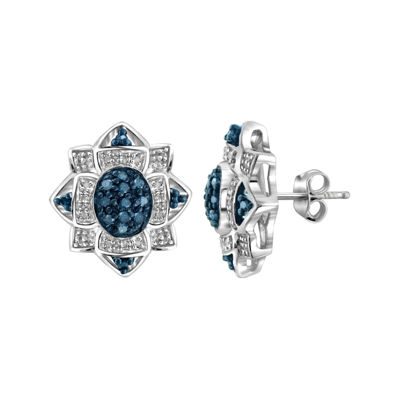 1/4 CT. T.W. White & Color-Enhanced Blue Diamond Sterling Silver Earrings