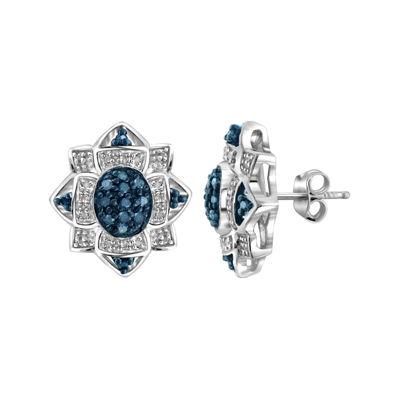 1/4 CT. T.W. White & Color-Enhanced Blue Diamond Sterling Silver Earrings