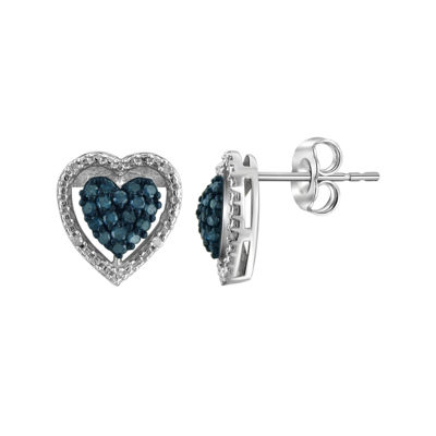 1/4 CT. T.W. White & Color-Enhanced Blue Diamond Sterling Silver Heart Earrings