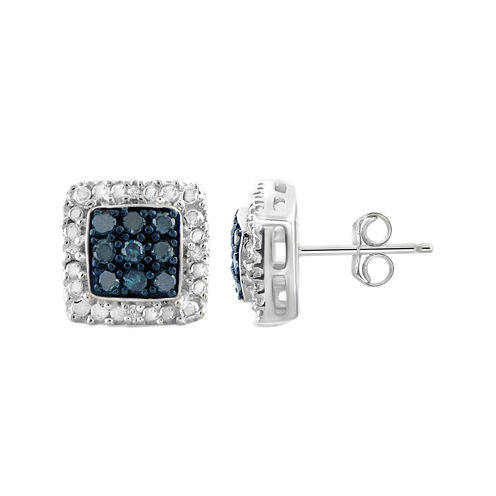 1/3 CT. T.W. White & Color-Enhanced Blue Diamond Sterling Silver Earrings