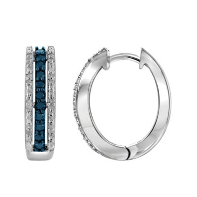 1/2 CT. T.W. White & Color-Enhanced Blue Diamond Sterling Silver Earrings
