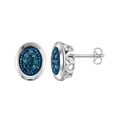 1/5 CT. T.W. Color-Enhanced Blue Diamond Sterling Silver Earrings