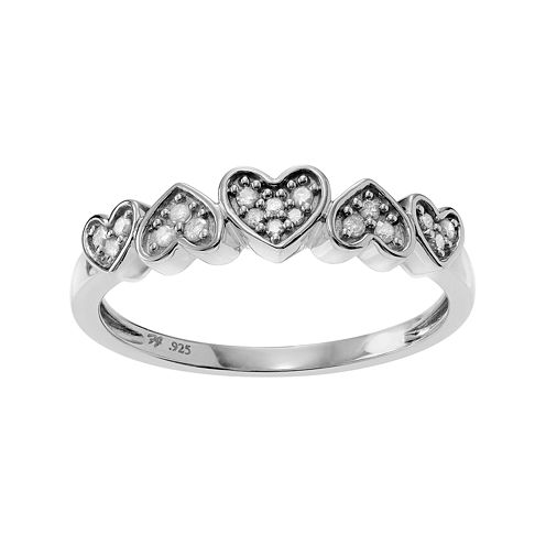 1/5 CT. T.W. Diamond Sterling Silver Heart Ring