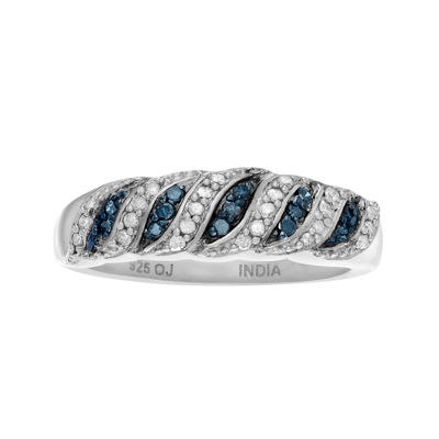 3/8 CT T.W. White & Color-Enhanced Blue Diamond Sterling Silver Ring