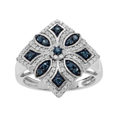 7/8 CT. T.W. White & Color-Enhanced Blue Diamond Sterling Silver Ring