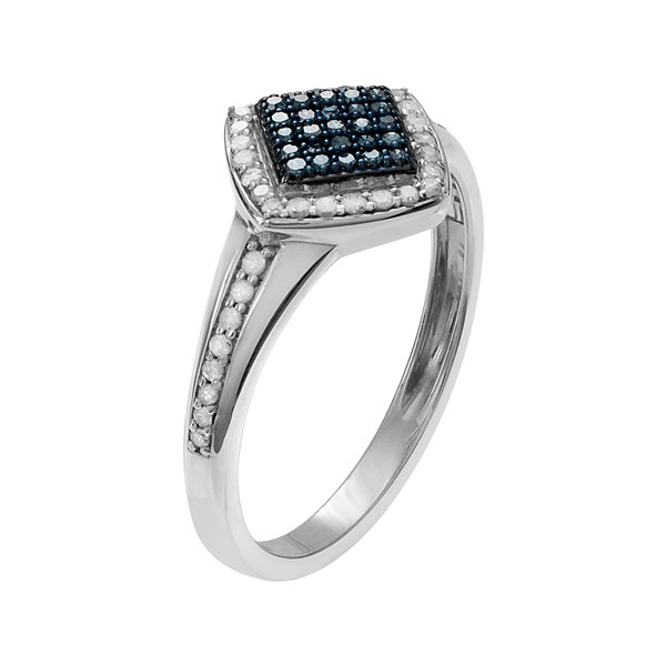 5/8 CT. T.W. White & Color-Enhanced Blue Diamond Sterling Silver Square Ring
