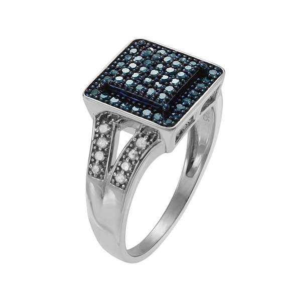 1/3 CT. T.W. White & Color-Enhanced Blue Diamond Sterling Silver Square Ring