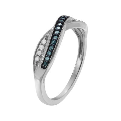 1/4 CT. T.W. White and Color-Enhanced Blue Diamond Sterling Silver Ring