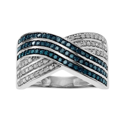1 1/8 CT. T.W. White & Color-Enhanced Blue Diamond Sterling Silver Ring