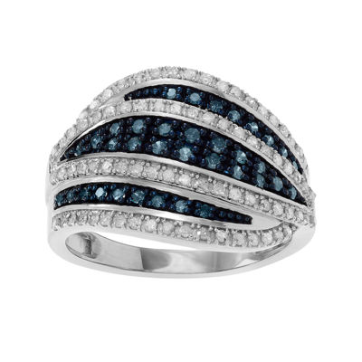 1 1/7 CT. T.W. White & Color-Enhanced Blue Diamond Sterling Silver Ring