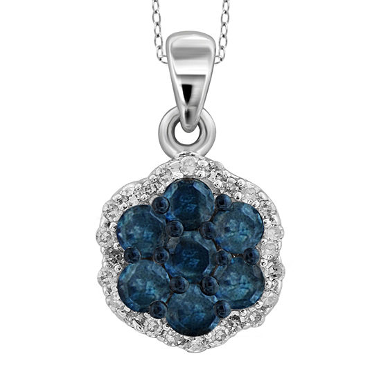 1 2 Ct Tw White Color Enhanced Blue Diamond Cluster Pendant Necklace