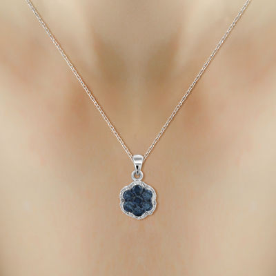 1/2 CT. T.W. White & Color-Enhanced Blue Diamond Cluster Pendant Necklace
