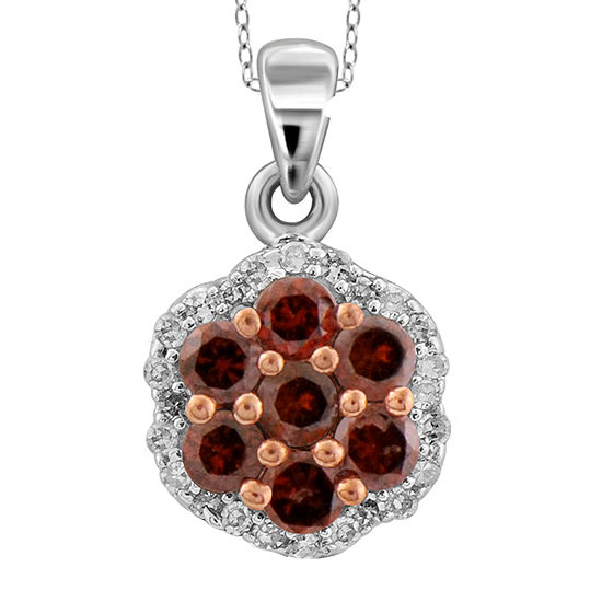 1 2 Ct Tw White Color Enhanced Red Diamond Cluster Pendant Necklace