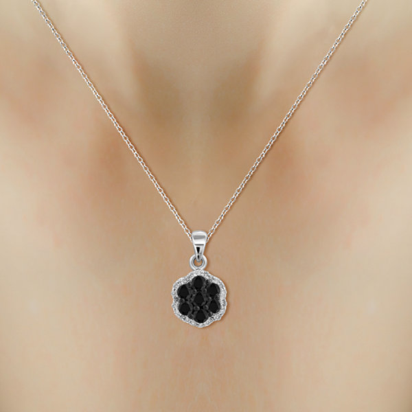 1/2 CT. T.W. White & Color-Enhanced Black Diamond Cluster Pendant Necklace