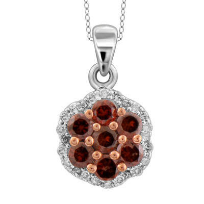 1 CT. T.W. White & Color-Enhanced Red Diamond Cluster Pendant Necklace