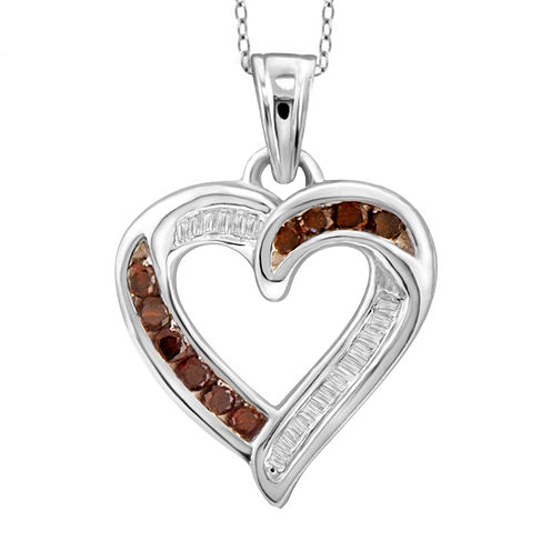 1/4 CT. T.W. White & Color-Enhanced Red Diamond Sterling Silver Pendant